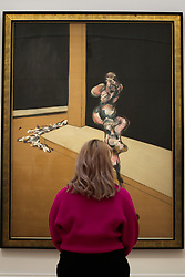 © Licensed to London News Pictures. 07/02/2020. London, UK. A staff member views Francis Bacon's painting titled 'Turning Figure' (Est. £6-£8 million) at the preview of Sotheby's Contemporary Art. The auction will take place at Sotheby's in central London on 11 and 12 February 2020. Photo credit: Dinendra Haria/LNP