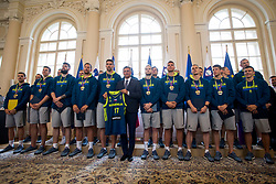"President of Slovenia, Borut Pahor with players during award ceremony ""Zlati red za zasluge"" for Basketball association of Slovenia on the day of statehood in the presidential palace, on June 25, 2018 in Ljubljana, Slovenia. Photo by Urban Urbanc / Sportida"