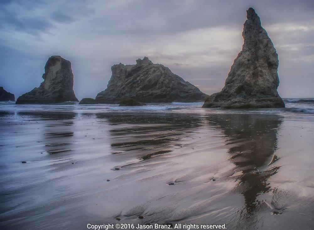 Gray and cloudy evening at Bandon Beach, Bandon, Oregon.
