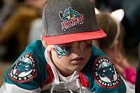 KELOWNA, BC - SEPTEMBER 21:  A young fan sports face paint in support of the Kelowna Rockets at Prospera Place on September 21, 2019 in Kelowna, Canada. (Photo by Marissa Baecker/Shoot the Breeze)