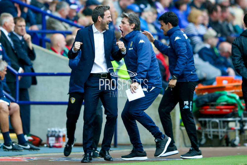 Leeds United manager Thomas Christiansen celebrates Leeds United forward Chris Wood (9) goal to make the score 0-2 during the EFL Sky Bet Championship match between Bolton Wanderers and Leeds United at the Macron Stadium, Bolton, England on 6 August 2017. Photo by Simon Davies.