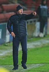 WREXHAM, WALES - Tuesday, November 17, 2015: Romania's head coach Cristian Dulca during the UEFA Under-21 Championship Qualifying Group 5 match against Wales at the Racecourse Ground. (Pic by David Rawcliffe/Propaganda)
