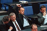 11 MAY 2000, BERLIN/GERMANY:<br /> Friedrich Merz, CDU, CDU/CSU Fraktionsvorsitzender, kratzt sich auf sehr dekorative Weise am Kopf, Bundestagsdebatte zur Regierungserkl&auml;rung des Bundeskanzlers zur wirtschaftlichen Situation Deutschlands, Plenum, Deutscher Bundestag<br /> Friedrich Merz, CDU Chairman of the CDU/CSU parliamentary goup, during a debate, plenary, German Bundestag<br /> IMAGE: 20000511-01/04-25