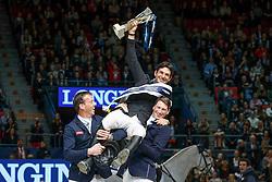 Podium Longones FEI WOrld Cup<br /> Steve Guerdat, (SUI)<br /> Solders Harry, (NED)<br /> Deusser Daniel, (GER)<br /> Longines FEI World Cup Jumping Part III - Goteborg 2016<br /> © Hippo Foto - Dirk Caremans<br /> 28/03/16