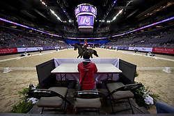 Werth Isabell, GER, Weihegold OLD, Theodorescu Monica<br /> Training session<br /> FEI World Cup Dressage Final, Omaha 2017 <br /> © Hippo Foto - Jon Stroud<br /> 29/03/2017