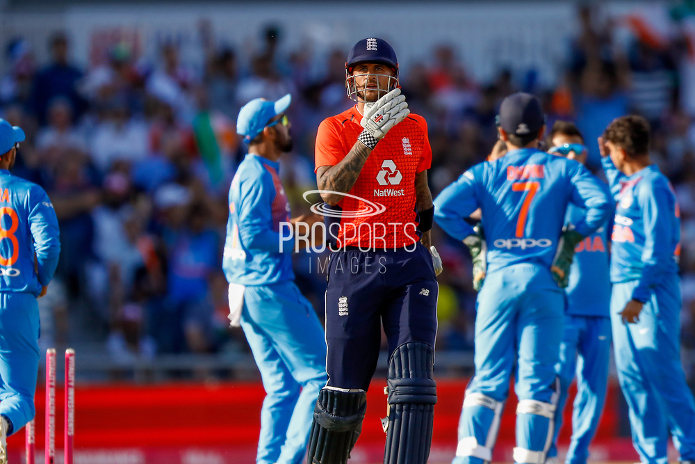 England T20 batsman Alex Hales is bowled during the International T20 match between England and India at Old Trafford, Manchester, England on 3 July 2018. Picture by Simon Davies.