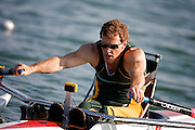 Dominic Monypenny of Australia competes in the men's single sculls A Repecharge 2 at the SY Rowing - Canoeing Park at the 2008 Paralympic Games in Beijing China, 10th September 2008
