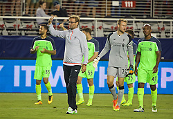 SANTA CLARA, USA - Saturday, July 30, 2016: Liverpool's manager Jürgen Klopp salutes the supporters after the 2-0 victory over AC Milan during the International Champions Cup 2016 game on day ten of the club's USA Pre-season Tour at the Levi's Stadium. (Pic by David Rawcliffe/Propaganda)