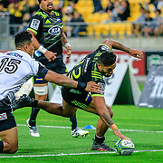 Vince Aso   scoring during the Super Rugby union game between Hurricanes and Sunwolves, played at Westpac Stadium, Wellington, New Zealand on 27 April 2018.   Hurricanes won 43-15.