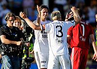 Fotball<br /> Treningskamp<br /> Åråsen Stadion 10.07.10<br /> Mikael Lustig og Mikael Dorsin feirer seieren<br /> Foto: Eirik Førde