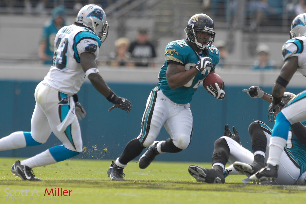 Dec. 9, 2007; Jacksonville, FL, USA; Jacksonville Jaguars running back Maurice Jones-Drew (32) during his team's game against the Carolina Panthers at Jacksonville Municipal Stadium.                        ©2007 Scott A. Miller..©2007 Scott A. Miller