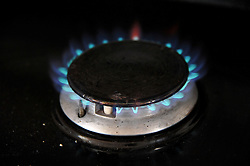 A Gas hob lit, March, 2013. Photo By Andrew Parsons / i-Images