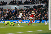Kit Graham, Leah Williamson and Manuela Zinsberger chase the ball during the FA Women's Super League match between Tottenham Hotspur Women and Arsenal Women FC at Tottenham Hotspur Stadium, London, United Kingdom on 17 November 2019.