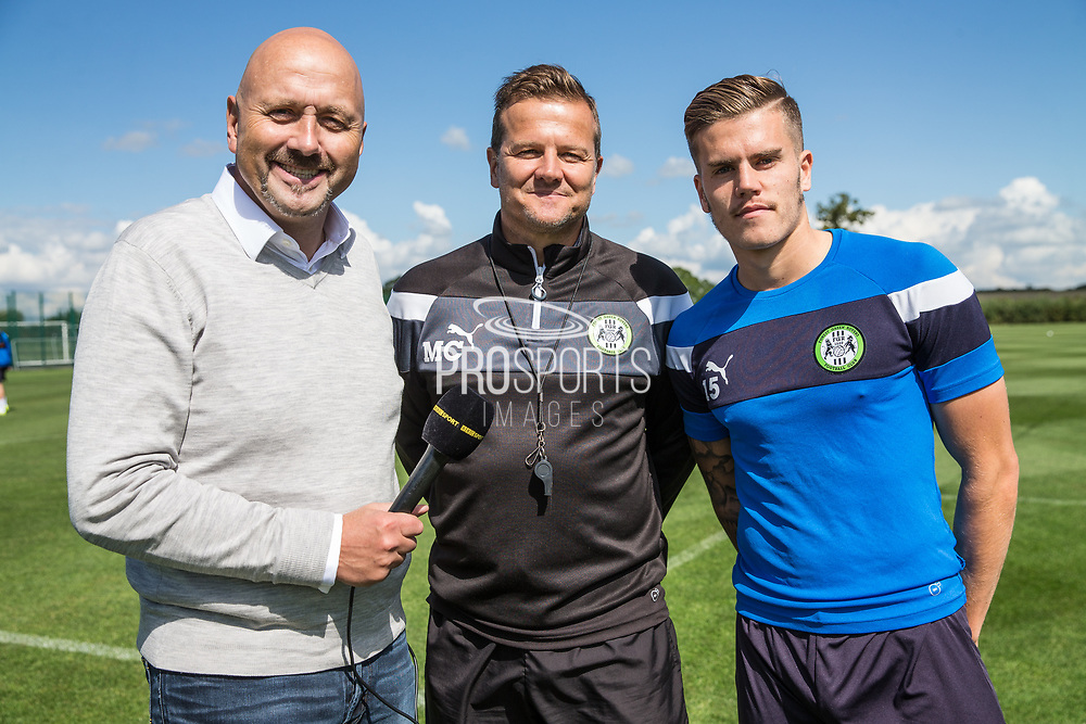 Mark Clemmit, Forest Green Rovers manager, Mark Cooper and Forest Green Rovers Charlie Cooper(15) at Stanley Park, Chippenham, United Kingdom on 31 August 2017. Photo by Shane Healey.