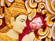 07 OCTOBER 2014 - GEORGE TOWN, PENANG, MALAYSIA: A wall relief depicting the Buddha at the Dhammikarama Burmese Temple, the largest Burmese temple in George Town (also Georgetown), the capital of the state of Penang in Malaysia. The temple was developed in 1803. Named after Britain's King George III, George Town is located on the north-east corner of Penang Island. The inner city has a population of 720,202 and the metropolitan area known as George Town Conurbation which consists of Penang Island, Seberang Prai, Kulim and Sungai Petani has a combined population of 2,292,394, making it the second largest metropolitan area in Malaysia. The inner city of George Town is a UNESCO World Heritage Site and one of the most popular international tourist destinations in Malaysia.         PHOTO BY JACK KURTZ
