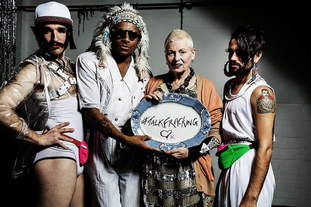 Dame Vivienne Westwood with transvestites at  Fracking Hell night hosted by Dame Vivienne Westwood &amp; her son Joe Corre on Saturday 4th October. 2014.<br /> <br /> Fracking Hell was in association with a transvestite night called &quot;Handsome&quot; to raise awareness and appeal to the gay vote to look at Fracking.