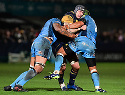 Will Spencer of Worcester Warriors goes into contact with Ofisa Treviranus of London Irish and Teofilo Paulo of London Irish - Mandatory by-line: Alex Davidson/JMP - 22/12/2017 - RUGBY - Sixways Stadium - Worcester, England - Worcester Warriors v London Irish - Aviva Premiership