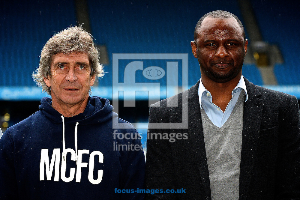 Picture by Ian Wadkins/Focus Images Ltd +44 7877 568959<br /> 24/01/2014<br /> Manchester City manager Manuel Pellegrini (left) and Patrick Vieira, Head of Elite Development Squad, pictured during the re launch of Manchester City Women&rsquo;s Football Club at the Etihad Stadium, Manchester.