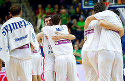 Players of Serbia celebrate after winning the basketball game between National basketball teams of Serbia and Turkey at FIBA Europe Eurobasket Lithuania 2011, on September 11, 2011, in Siemens Arena,  Vilnius, Lithuania. Serbia defeated Turkey 68-67. (Photo by Vid Ponikvar / Sportida)