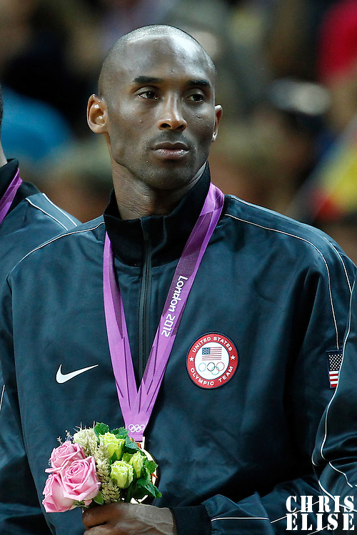 12 August 2012: USA Kobe Bryant is seen wearing the gold medal following the 107-100 Team USA victory over Team Spain, during the men's Gold Medal Game, at the North Greenwich Arena, in London, Great Britain.