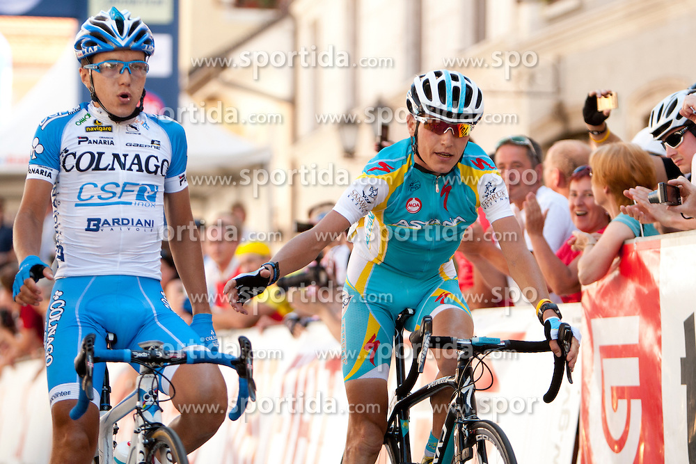 POZZOVIVO Domenico of Colnago and BRAJKOVIC Janez of Astana during 3rd Stage (219 km) at 19th Tour de Slovenie 2012, on June 16, 2012, in Skofja Loka, Slovenia. (Photo by Urban Urbanc / Sportida.com)