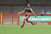 Ollie Palmer scores the winning goal and runs off to celebrate   during the EFL Sky Bet League 2 match between Crawley Town and Cheltenham Town at The People's Pension Stadium, Crawley, England on 31 August 2019.