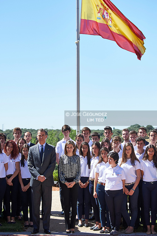 King Felipe VI of Spain, Queen Letizia of Spain attended an audience  to students participating in the 11st edition of the program 'Scholarships Europe'  University Francisco de Vitoria at Zarzuela Palace on July 15, 2016 in Madrid<br /> Spanish Royals during a minuet of silence for the Niza Terrorism attack victims.