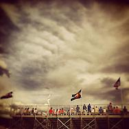 Beaver Creek Rodeo grandstands and crowd. Avon, Colorado, USA, North America