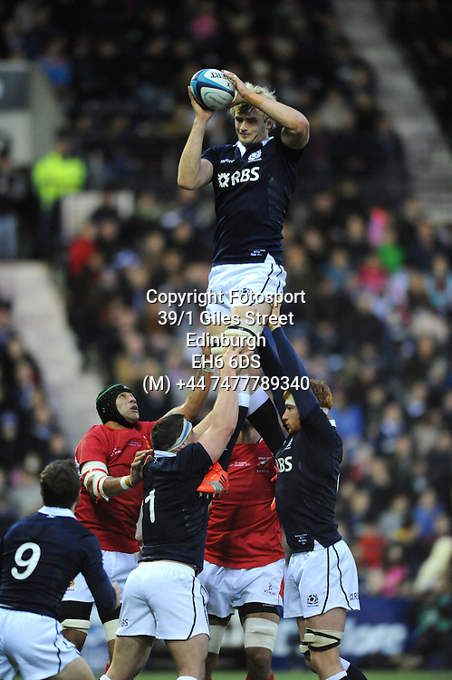 Richie Gray - Scotland lock wins a line out<br /> Scotland v Tonga, Rugby Park, Kilmarnock, Scotland, Saturday 22 November 2014<br /> Please credit: Fotosport/David Gibson.