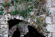 Overgrown stone archway, with silhouette of adult in background. Village of Zrnovo, island of Korcula, Croatia