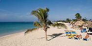 Sunbeds and a palm tree on the beach at Playa Ancon,<br /> Trinidad, Cuba