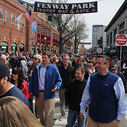 Fans outside Fenway Park during the Boston Red Sox V Tampa Bay Rays, Major League Baseball game on Jackie Robinson Day, Fenway Park, Boston, Massachusetts, USA, 15th April, 2013. Photo Tim Clayton