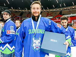 Jan Urbas of Slovenia celebrates after the ice hockey match between National Teams of Austria and Slovenia in 5th Round of 2016 IIHF Ice Hockey World Championship Division 1 - Group A, on April 29, 2016 in Spodek Arena, Katowice, Poland. Photo by Marek Piuyzs / Sportida