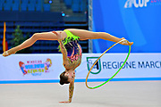 Filiorianu Ana Luiza during qualifying at hoop in Pesaro World Cup 10 April 2015. Ana Luiza was born in July 10, 1999 in Bucharest. She is a very good Romanian individual rhythmic gymnast.