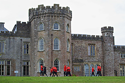 CARDIFF, WALES - Friday, October 7, 2016: Wales players stroll past Hensol Castle during a team walk at the Vale Resort ahead of the 2018 FIFA World Cup Qualifying Group D match against Georgia. (Pic by David Rawcliffe/Propaganda)