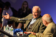 """May 11, 2013 - Garden City, New York U.S. -  Astronaut BUZZ ALDRIN, at left, the second person to walk on the moon, is in conversation with DICK DUNNE, and then signs Aldrin's new books ''Mission to Mars"""" and the illustrated history of space exploration """"Look to the Stars.""""  The lecture in the JetBlue Sky Theater Planetarium by Aldrin, the NASA astronaut engineer of Apollo 11 in 1969, was at the Cradle of Aviation Museum.."""