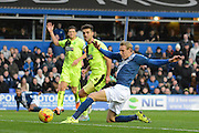 Birmingham City striker Nicolai Brock-Madsen stretches for a shot during the Sky Bet Championship match between Birmingham City and Huddersfield Town at St Andrews, Birmingham, England on 5 December 2015. Photo by Alan Franklin.
