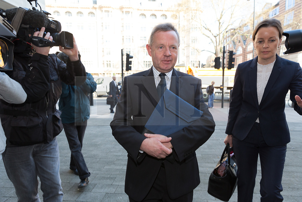 © Licensed to London News Pictures. 19/04/2018. London, UK. ANDREW HILL arrives at Westminster Magistrates Court in London. Andrew Hill was the pilot of a vintage jet which crashed onto a dual carriageway during the Shoreham Airshow killing 11 men. Mr Hill appears charged with 11 counts of manslaughter and one count of endangering an aircraft, contrary to Article 137 of the Air Navigation Order 2009 after his Hawker Hunter jet crashed onto the A27 at Shoreham in West Sussex at 1.22pm on August 22, 2015.. Photo credit: Vickie Flores/LNP