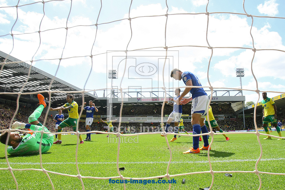 The Norwich players celebrate while the Ipswich players look dejected after Nathan Redmond of Norwich scores his sides 2nd goal during the Sky Bet Championship match at Carrow Road, Norwich<br /> Picture by Paul Chesterton/Focus Images Ltd +44 7904 640267<br /> 16/05/2015