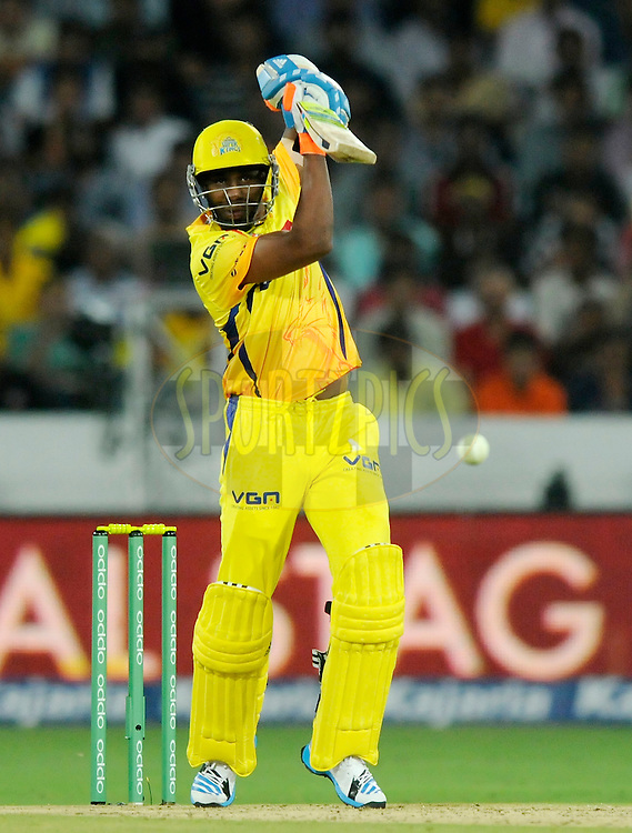 Dwayne Bravo of Chennai Super Kings bats during match 1 of the Oppo Champions League Twenty20 between the Kolkata Knight Riders and the Chennai Superkings held at the Rajiv Gandhi Cricket Stadium, Hyderabad, India on the 17th September 2014<br /> <br /> Photo by:  Pal Pillai / Sportzpics/ CLT20<br /> <br /> <br /> Image use is subject to the terms and conditions as laid out by the BCCI/ CLT20.  The terms and conditions can be downloaded here:<br /> <br /> http://sportzpics.photoshelter.com/gallery/CLT20-Image-Terms-and-Conditions-2014/G0000IfNJn535VPU/C0000QhhKadWcjYs