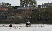 Putney-Chiswick.  Greater    London, UK. left Mathilda HODGKINS-BYRNE  and right Geogina FRANCIS as the scullers turn by Watney Brewery in the closing stage of the Women's  2015 Wingfield Scull Race, over the Championship Course, River Thames  Thursday  12/11/2015 <br /> <br /> [Mandatory Credit: Peter SPURRIER: Intersport Images]