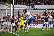 Kilmarnock FC Defender Conrad Balatoni attacks the Corner during the Ladbrokes Scottish Premiership match between Heart of Midlothian and Kilmarnock at Tynecastle Stadium, Gorgie, Scotland on 3 October 2015. Photo by Craig McAllister.