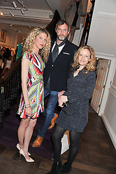 Left to right, JOSEPHINE PAPASAVVAS, MARK NEWMAN and LARA CAZALET at the Frocks and Rocks party hosted by Alice Temperley and Jade Jagger at Temperley, Bruton Street, London on 25th April 2013.
