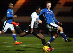 Idris Kanu of Peterborough United shoots at goal while under pressure from Callum Camps of Rochdale - Mandatory by-line: Joe Dent/JMP - 25/11/2017 - FOOTBALL - Crown Oil Arena - Rochdale, England - Rochdale v Peterborough United - Sky Bet League One