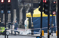 © Licensed to London News Pictures.23/03/2017.London, UK. Forensics officers stand next to a tent covering the area where the attacker's car came to a halt on Westminster Bridge near Parliament, the day after a lone terrorist killed 4 people and injured several more, in an attack using a car and a knife. The attacker managed to gain entry to the grounds of the Houses of Parliament, killing one police officer.Photo credit: Peter Macdiarmid/LNP