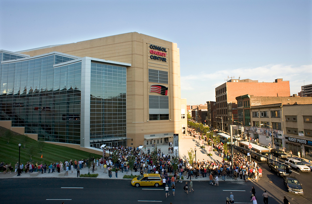 A large crowd waits for the doors to open before the Paul McCartney concert on opening night of the new Consol Energy Center in Pittsburgh.