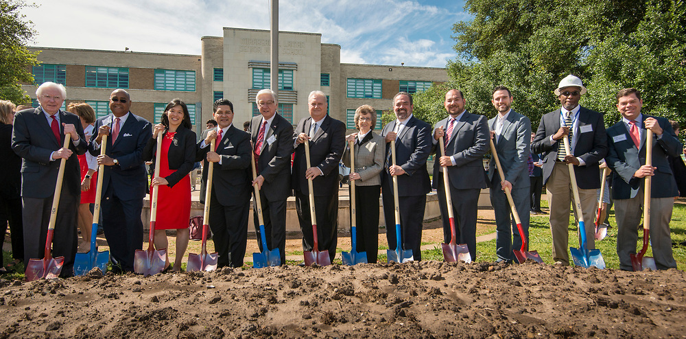 Groundbreaking ceremony at Lamar High School, March 30, 2017.