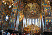 Interior of the Church of the Savior on Spilled Blood, St. Petersburg, Russia.