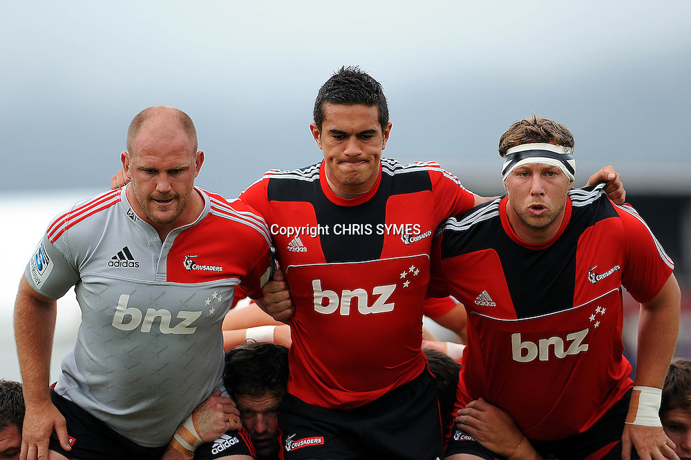 Crusaders front row L-R Ben Franks, Quentin MacDonald, Wyatt Crockett before their Super Rugby Pre-season game Crusaders v Highlanders. Rugby Park, Greymouth, New Zealand. Friday 3 February 2012. Photo: Chris Symes/www.photosport.co.nz