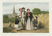 Sunday Morning' Agricultural labourer and family returning home from church. Chromolithograph c1880.